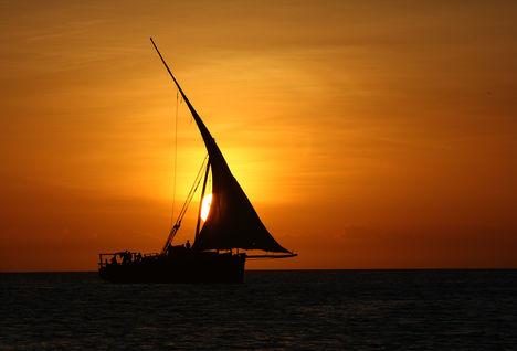Tanzania dhow at sunset