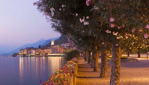 Italian lake at dusk