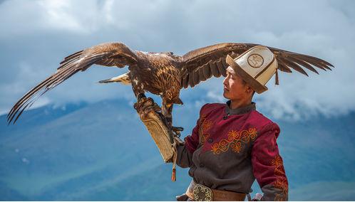 Boy with eagle, Mongolia