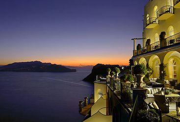 Caesar Augustus hotel at night, luxury hotel in Italy