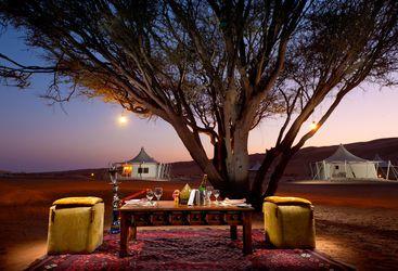 Dining at Desert Night Camp, luxury hotel in Oman