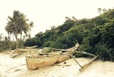 Wooden boat on the beach at Saruni Samburu