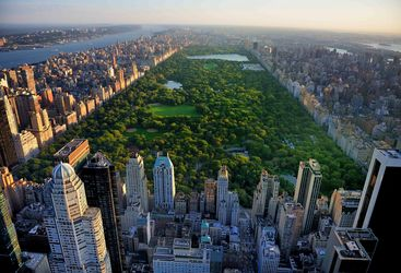 An aerial view of Central Park and Manhattan