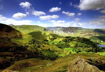 A panoramic view of Ullswater in the Lake District