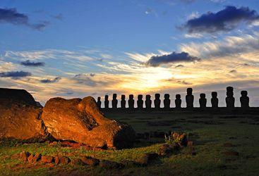 Giant Moai at Sunset
