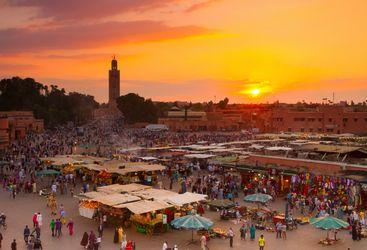 Sunset over market in Marrakesh