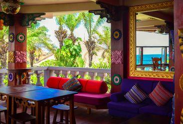 Colourful lounge area