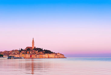 Rovinj old town at sunset