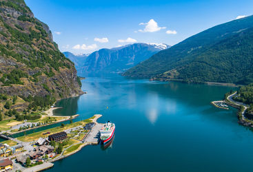 Aerial view of Flam village, Norway