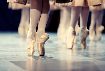 Close up of ballerinas on stage