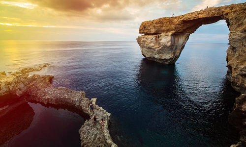 Azure window at sunset