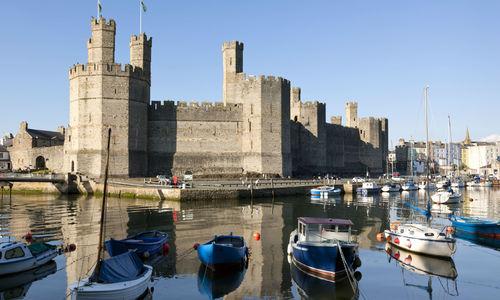 The medieval Caernarfon Castle, Wales