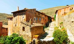 Stone Houses in a Hillside Town in Aragon