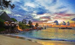 Beach at Sunset in Seychelles