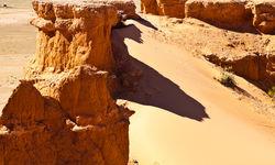 Sandu Dunes and Cliffs in the Gobi Desert