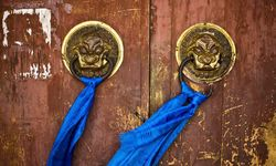 Temple door close up
