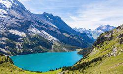 Oeschinen lake on Bernese Oberland