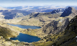 A hilltop view of the Snowdonia lakes