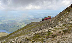 An image of a steam train on the Snowdon Mountain Railway