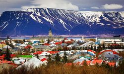 Reykjavik city and mountains