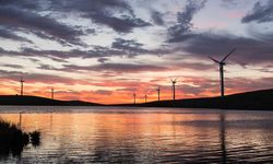 Northern Ireland's windmills pictured during sunset