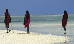 Tanzanian Coast Masi People on the Beach