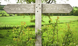 Signs directing to Hadrian's Wall footpath