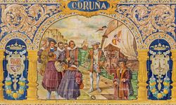 A Tiled Coruna Sign at Plaza de Espana