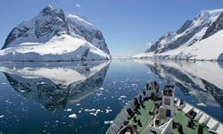 A ship sailing in Antarctica