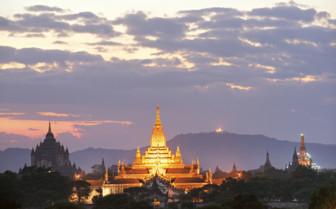 Temple in Burma lit up