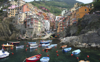 Boats harboured at the Cinque Terre Amalfi