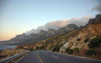 Table Mountain with clouds rolling in