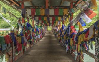 Prayer Flags Adorning a Bridge