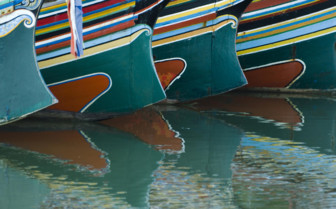 Detail of Brightly Painted Boats