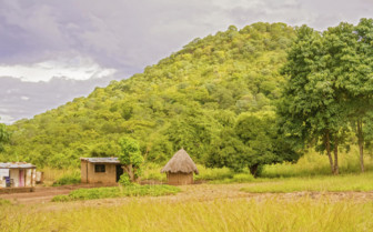 Scenery and huts in Zambia