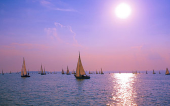 Sunset and sailing boats in Croatia