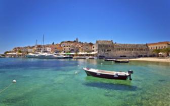 Croatia seaside town and boat