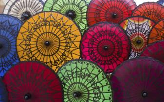 Myanmar colourful umbrellas