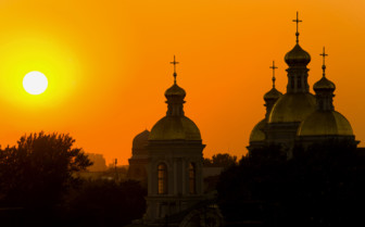 Church domes at sunset in St Petersburg
