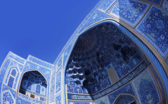 Isfahan mosque and blue skies