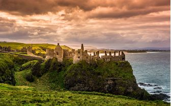 An image of the medieval Dunluce Castle in Northern Ireland