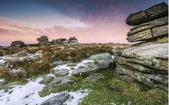 A snowy Dartmoor National Park
