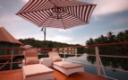 The sun terrace at 4 Rivers Floating Lodge, luxury hotel in Cambodia
