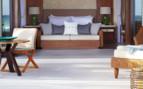 Beachfront villa bed at the hotel