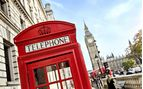 A traditional red telephone box