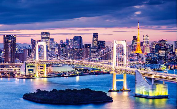 Odaiba district in Tokyo at dusk