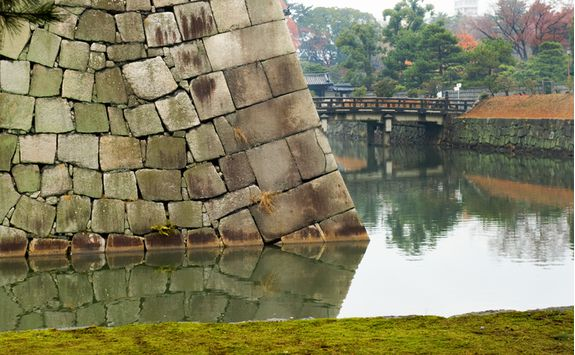 Walls and moat of Nijo Castle in Kyoto