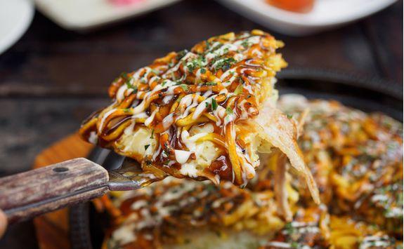 Okonomiyaki pancake in Hiroshima