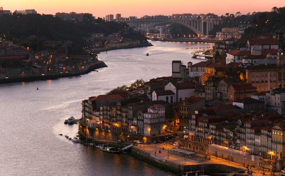 Aerial view of Porto at night