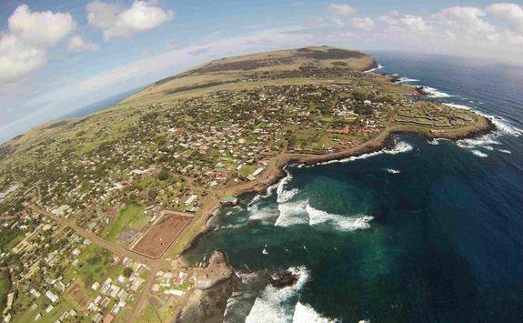 Hanga Roa aerial